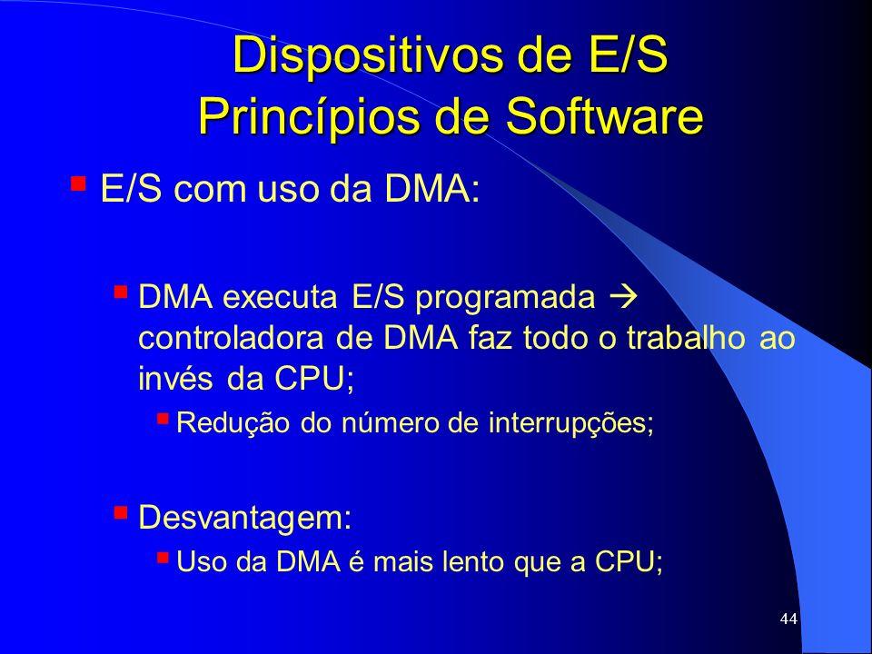 44 Dispositivos de E/S Princípios de Software E/S com uso da DMA: DMA executa E/S programada controladora de DMA faz todo o trabalho ao invés da CPU;