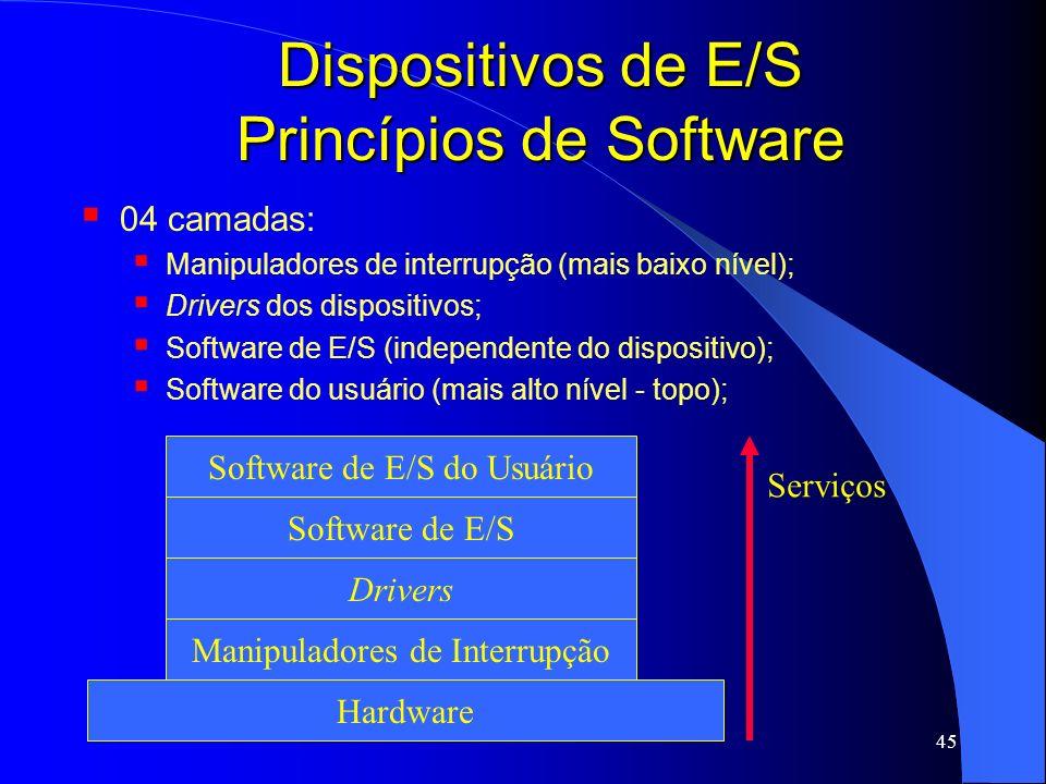 45 Dispositivos de E/S Princípios de Software 04 camadas: Manipuladores de interrupção (mais baixo nível); Drivers dos dispositivos; Software de E/S (