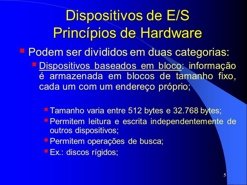 6 Dispositivos de E/S Princípios de Hardware Dispositivos baseados em caracter: aceita uma seqüência de caracteres, sem se importar com a estrutura de blocos; informação não é endereçável e não possuem operações de busca; Ex.: impressoras, interfaces de rede (placas de rede); placas de som;