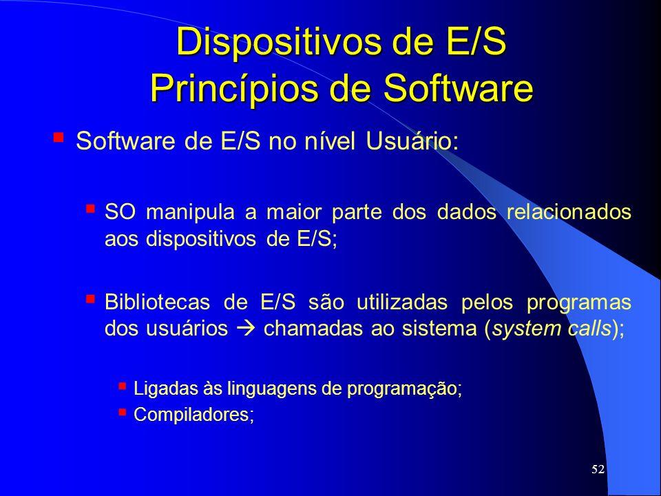52 Dispositivos de E/S Princípios de Software Software de E/S no nível Usuário: SO manipula a maior parte dos dados relacionados aos dispositivos de E