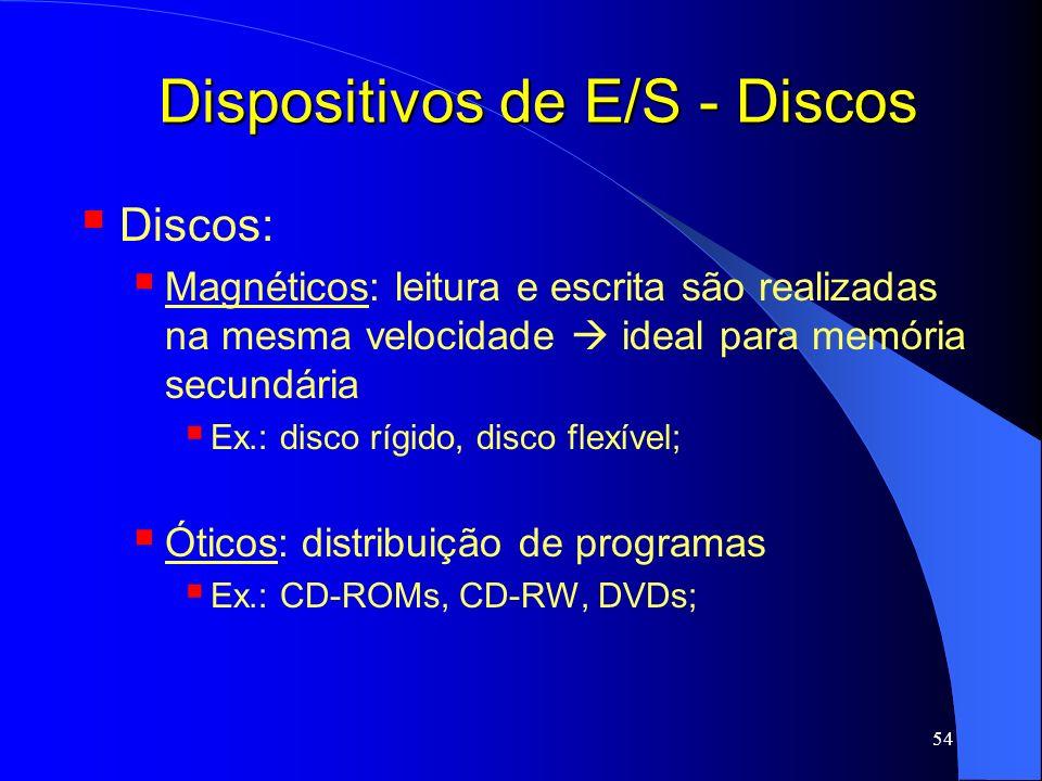 54 Dispositivos de E/S - Discos Discos: Magnéticos: leitura e escrita são realizadas na mesma velocidade ideal para memória secundária Ex.: disco rígi