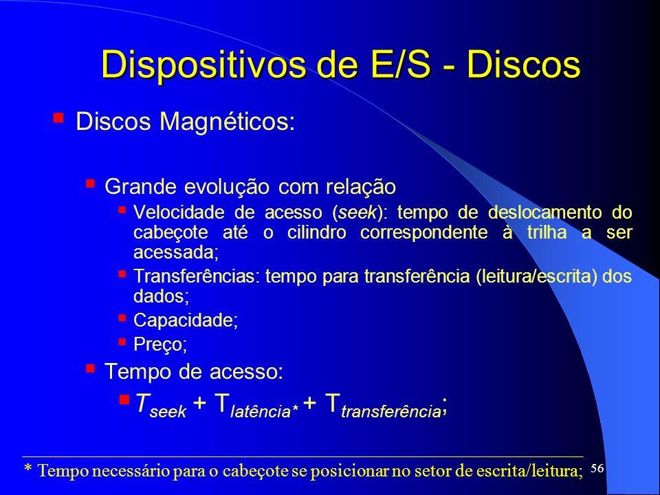 56 Dispositivos de E/S - Discos Discos Magnéticos: Grande evolução com relação Velocidade de acesso (seek): tempo de deslocamento do cabeçote até o ci