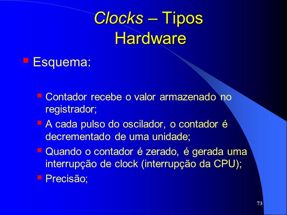 73 Clocks – Tipos Hardware Esquema: Contador recebe o valor armazenado no registrador; A cada pulso do oscilador, o contador é decrementado de uma uni