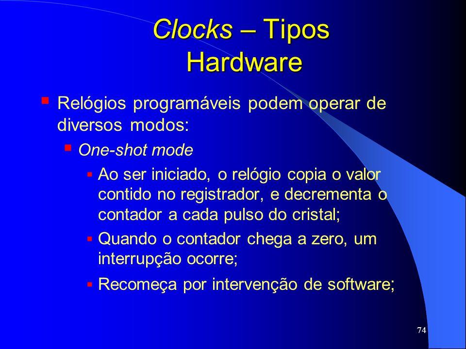 74 Clocks – Tipos Hardware Relógios programáveis podem operar de diversos modos: One-shot mode Ao ser iniciado, o relógio copia o valor contido no reg