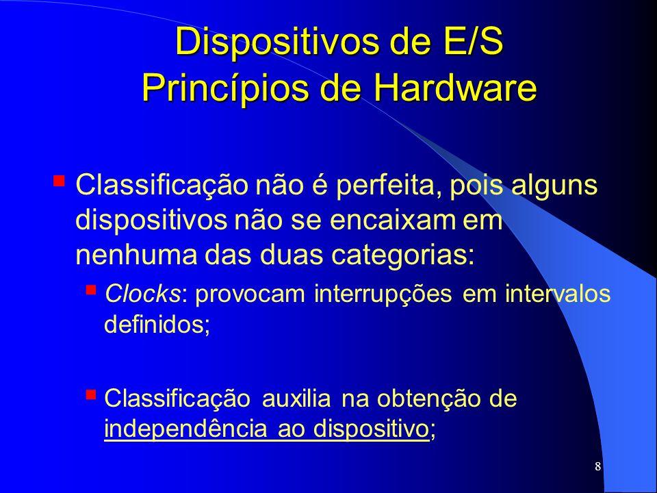 19 Dispositivos de E/S Princípios de Hardware Existe ainda um terceira maneira híbrida Registradores Porta; Buffers Memory-mapped; Pentium: endereços de 640k a 1M para os buffers e as portas de E/S de 0a 64k para registradores; Instruções em C; Registradores são apenas variáveis na memória;