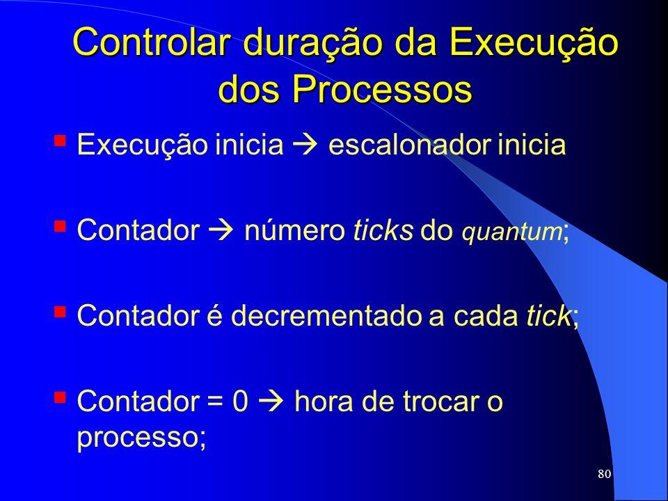 80 Controlar duração da Execução dos Processos Execução inicia escalonador inicia Contador número ticks do quantum ; Contador é decrementado a cada ti