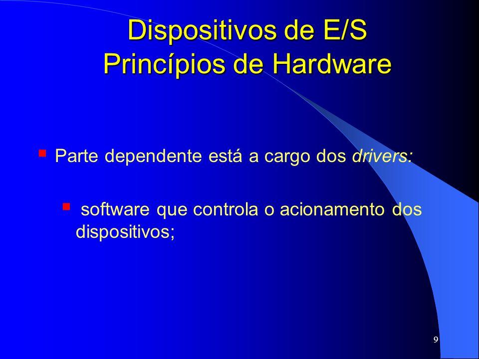 9 Dispositivos de E/S Princípios de Hardware Parte dependente está a cargo dos drivers: software que controla o acionamento dos dispositivos;