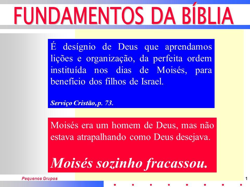 Pequenos Grupos1 É desígnio de Deus que aprendamos lições e organização, da perfeita ordem instituída nos dias de Moisés, para benefício dos filhos de Israel.