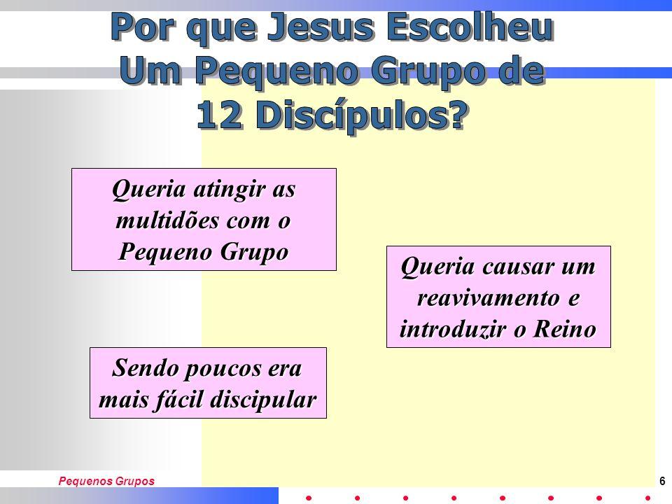 Pequenos Grupos5 Orou antes de chamar os 12 Luc. 6:12-16 Ensinou em Pequenos Grupos Mat. 13:36 Treinou-os para pregar e curar Luc. 9:1,2 Enviou-os par