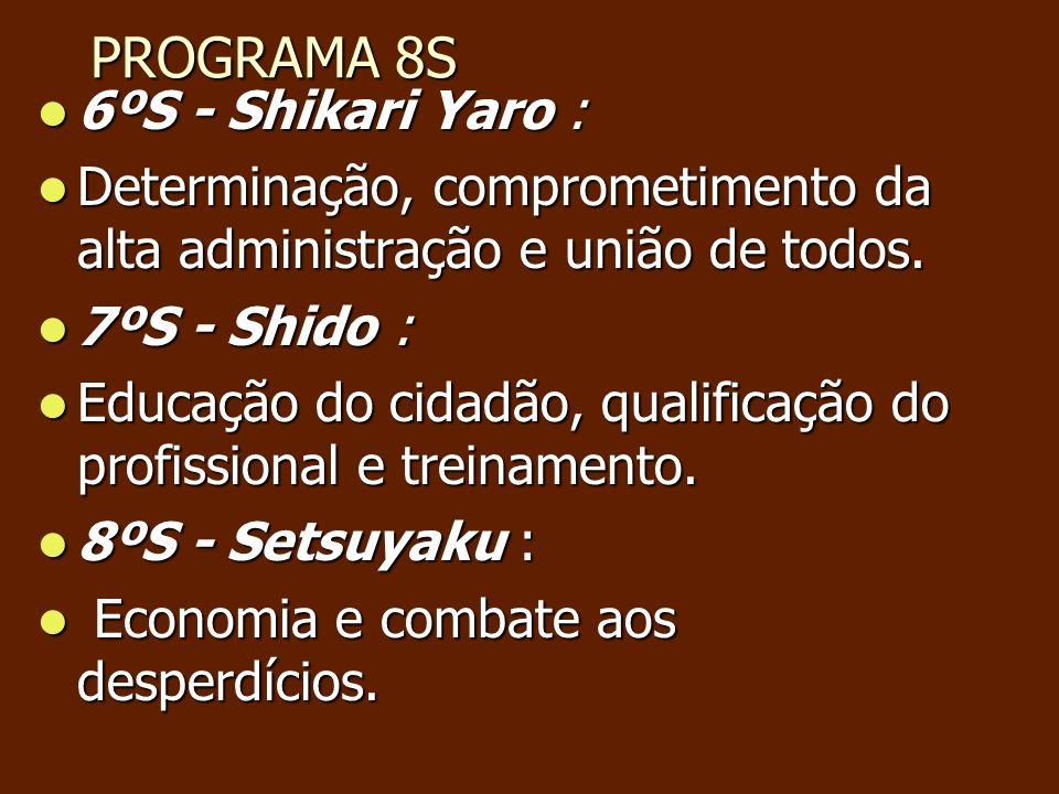 PROGRAMA 8S PROGRAMA 8S 6ºS - Shikari Yaro : 6ºS - Shikari Yaro : Determinação, comprometimento da alta administração e união de todos. Determinação,