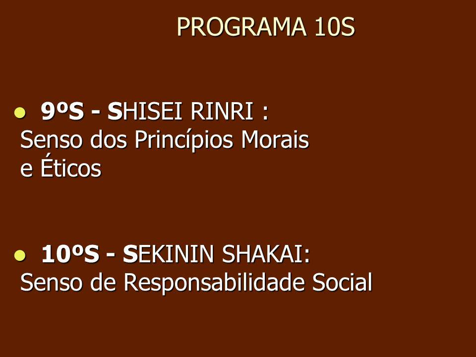 PROGRAMA 10S PROGRAMA 10S 9ºS - SHISEI RINRI : 9ºS - SHISEI RINRI : Senso dos Princípios Morais Senso dos Princípios Morais e Éticos e Éticos 10ºS - S