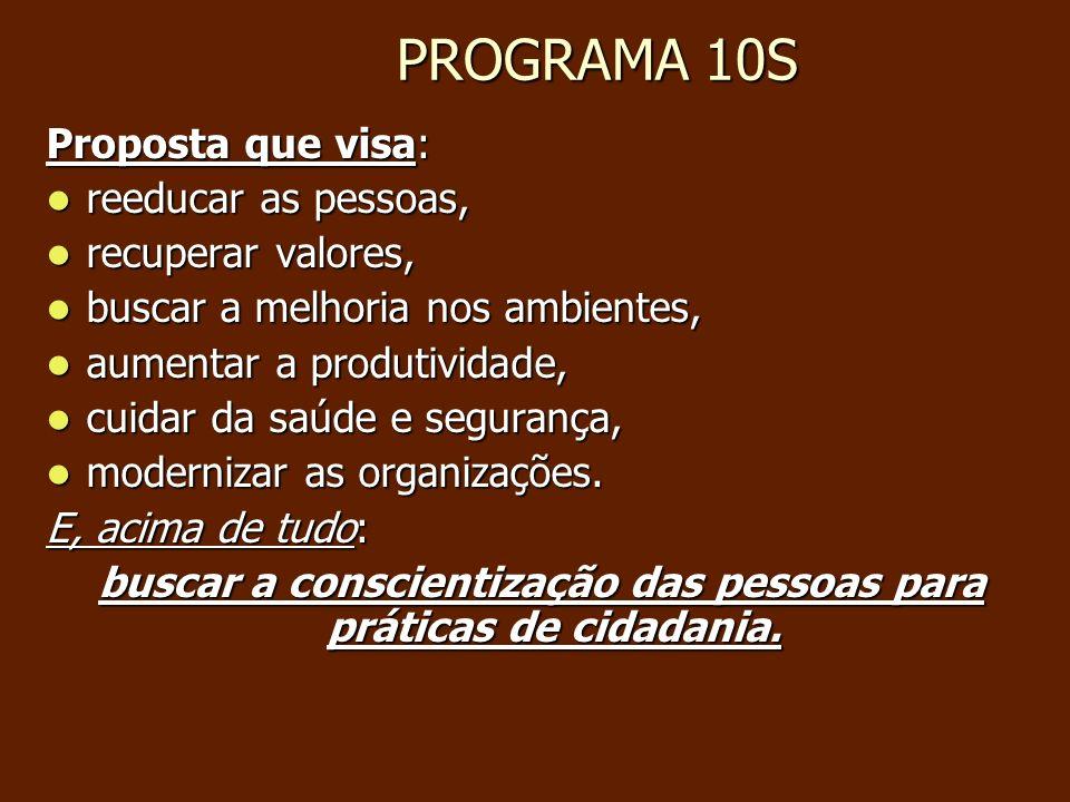 PROGRAMA 10S PROGRAMA 10S Proposta que visa: reeducar as pessoas, reeducar as pessoas, recuperar valores, recuperar valores, buscar a melhoria nos amb