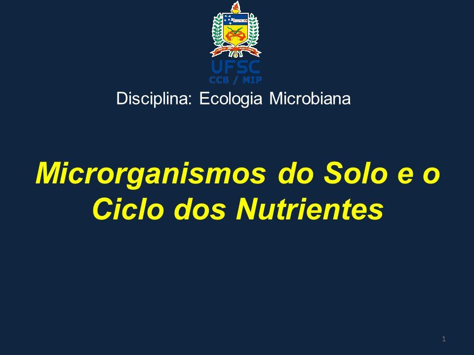 Microrganismos do Solo e o Ciclo dos Nutrientes Disciplina: Ecologia Microbiana 1