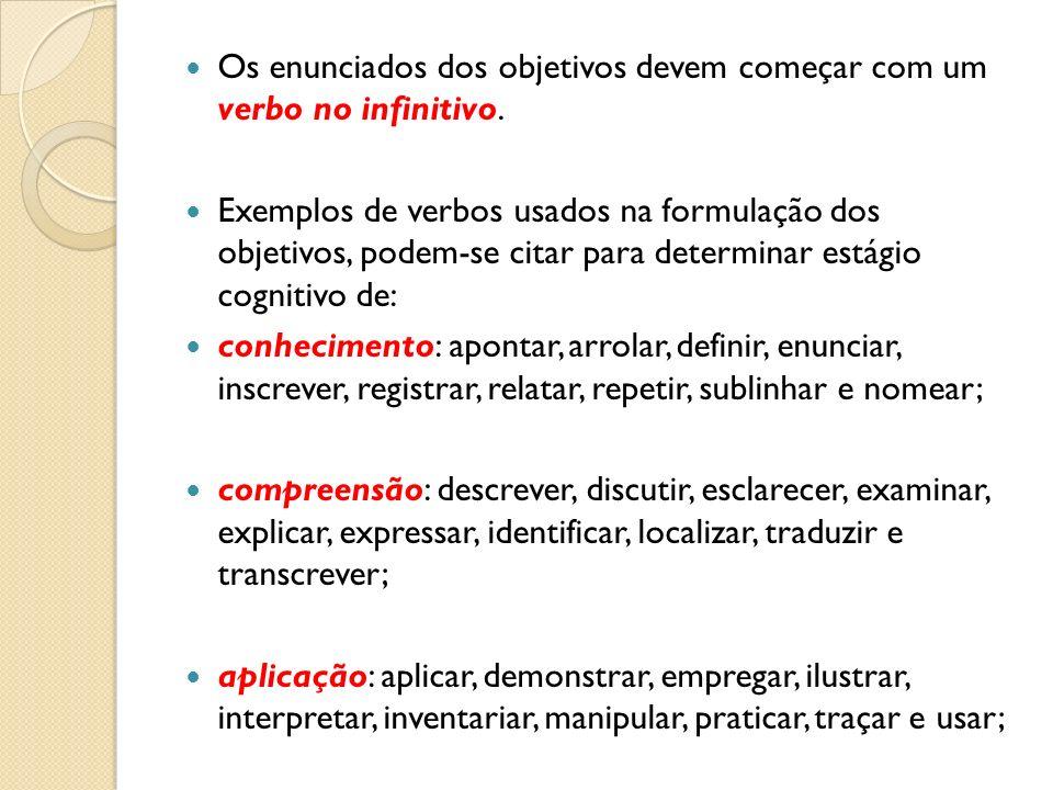 Os enunciados dos objetivos devem começar com um verbo no infinitivo. Exemplos de verbos usados na formulação dos objetivos, podem-se citar para deter
