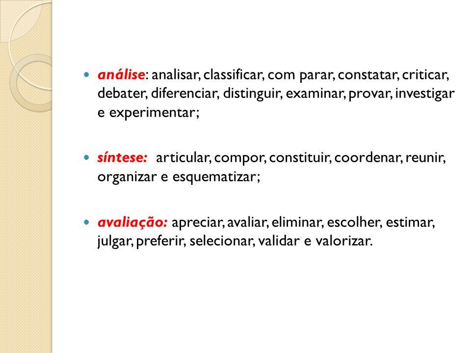 análise: analisar, classificar, com parar, constatar, criticar, debater, diferenciar, distinguir, examinar, provar, investigar e experimentar; síntese
