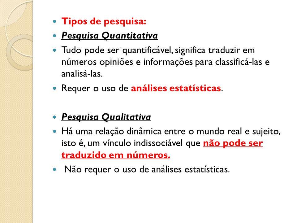 Tipos de pesquisa: Pesquisa Quantitativa Tudo pode ser quantificável, significa traduzir em números opiniões e informações para classificá-las e anali