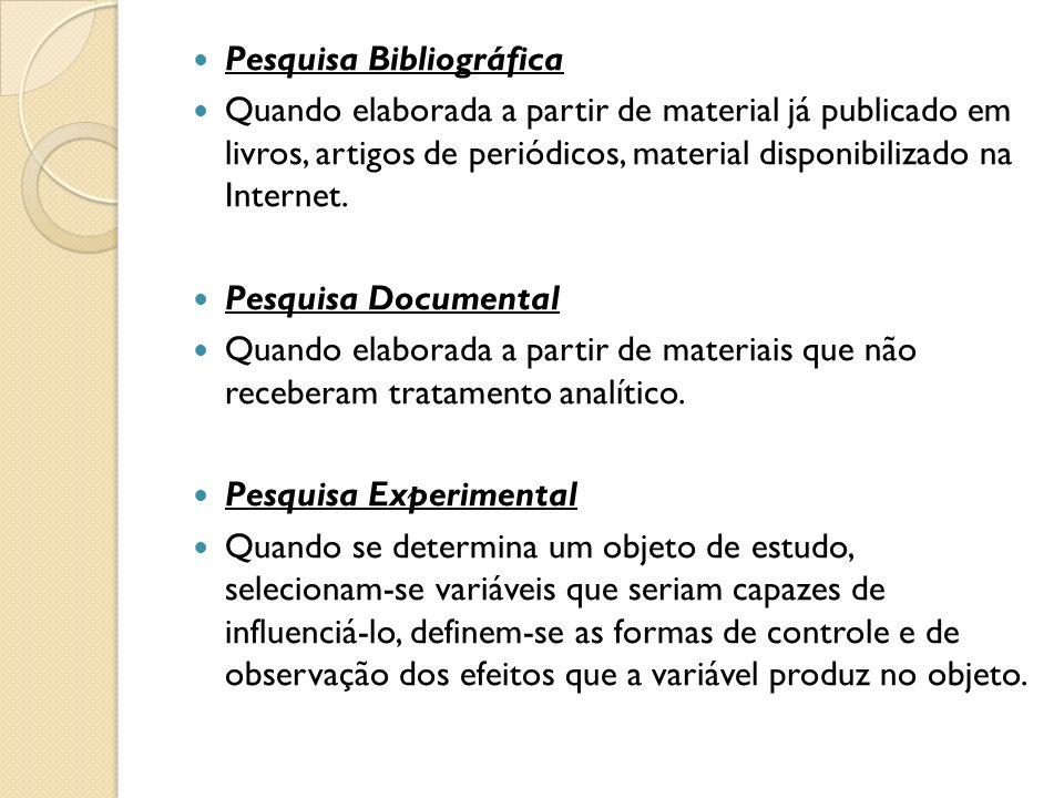 Pesquisa Bibliográfica Quando elaborada a partir de material já publicado em livros, artigos de periódicos, material disponibilizado na Internet. Pesq