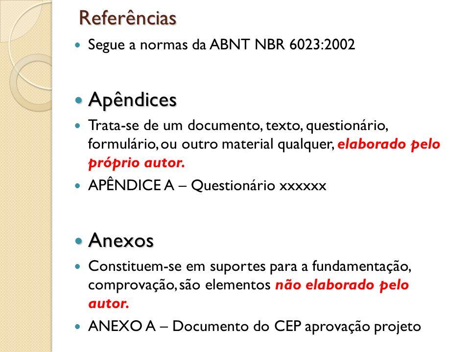 Referências Segue a normas da ABNT NBR 6023:2002 Apêndices Apêndices Trata-se de um documento, texto, questionário, formulário, ou outro material qual