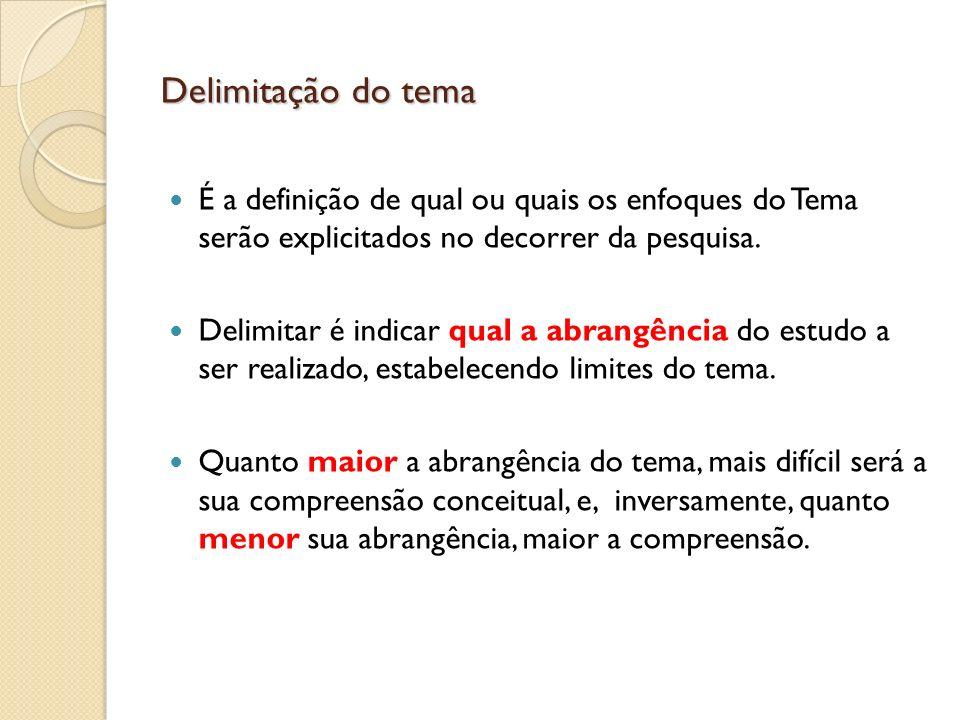 Delimitação do tema É a definição de qual ou quais os enfoques do Tema serão explicitados no decorrer da pesquisa. Delimitar é indicar qual a abrangên