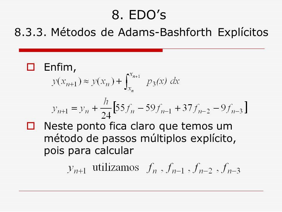 8. EDOs 8.3.3. Métodos de Adams-Bashforth Explícitos Enfim, Neste ponto fica claro que temos um método de passos múltiplos explícito, pois para calcul
