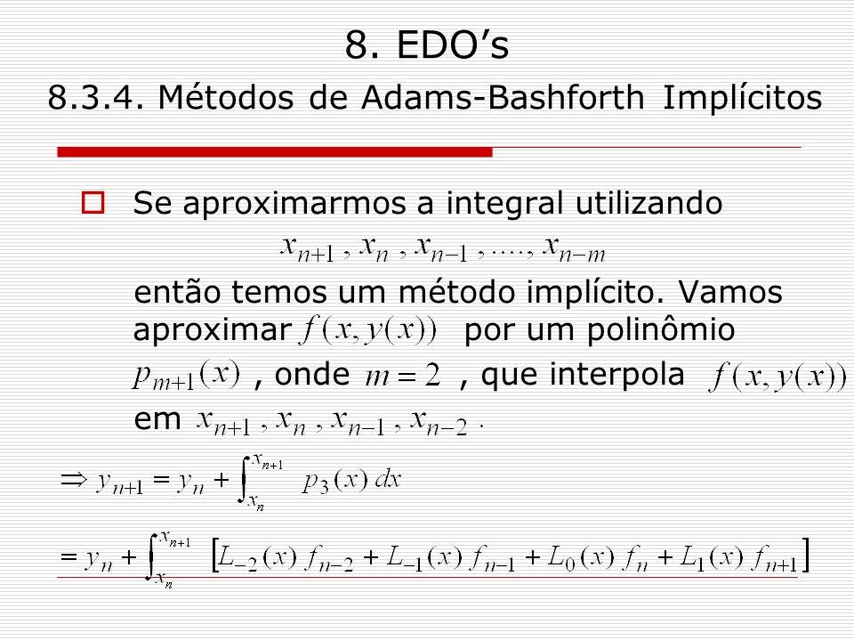 8. EDOs 8.3.4. Métodos de Adams-Bashforth Implícitos Se aproximarmos a integral utilizando então temos um método implícito. Vamos aproximar por um pol