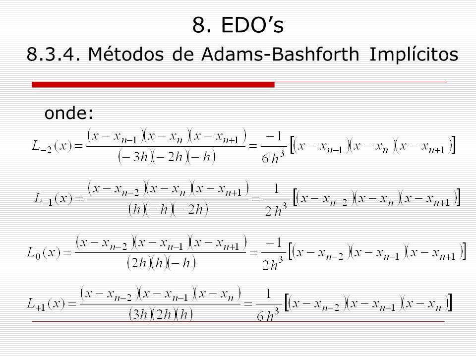 8. EDOs 8.3.4. Métodos de Adams-Bashforth Implícitos onde: