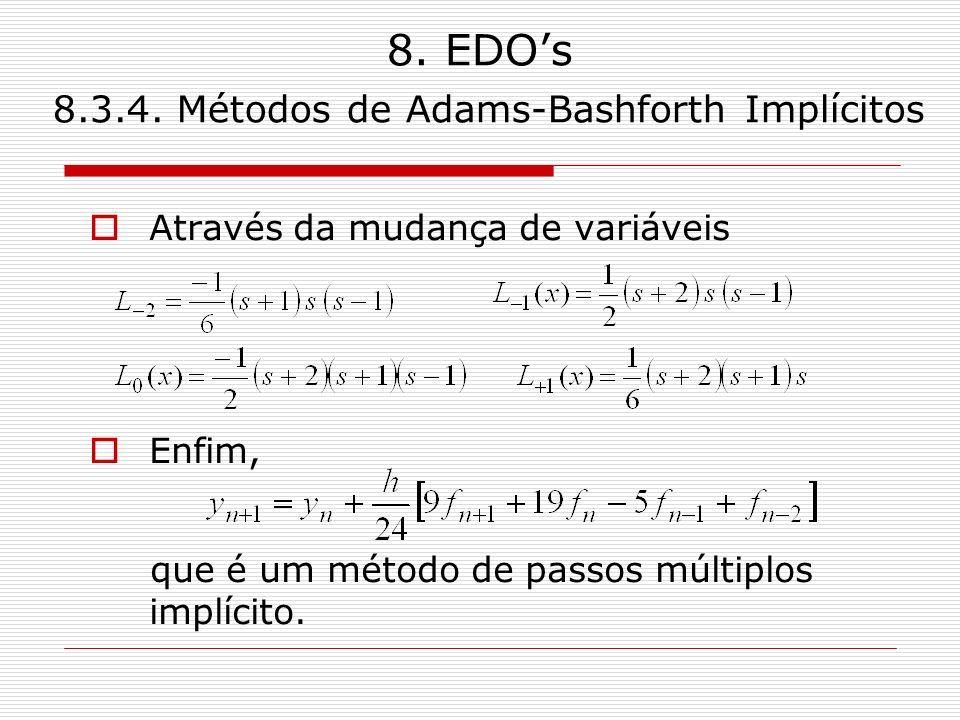 8. EDOs 8.3.4. Métodos de Adams-Bashforth Implícitos Através da mudança de variáveis Enfim, que é um método de passos múltiplos implícito.