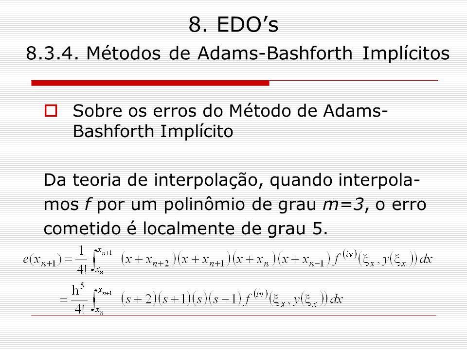 8. EDOs 8.3.4. Métodos de Adams-Bashforth Implícitos Sobre os erros do Método de Adams- Bashforth Implícito Da teoria de interpolação, quando interpol