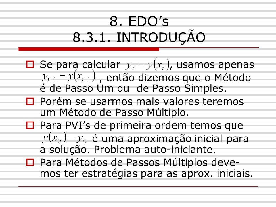 8. EDOs 8.3.1. INTRODUÇÃO Se para calcular, usamos apenas, então dizemos que o Método é de Passo Um ou de Passo Simples. Porém se usarmos mais valores