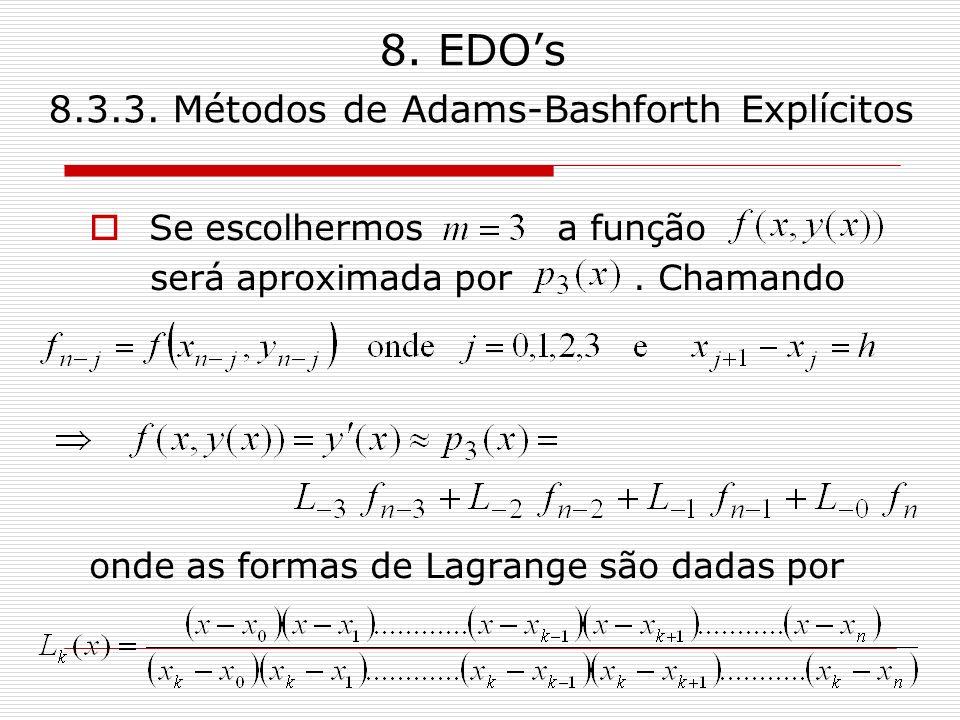 8. EDOs 8.3.3. Métodos de Adams-Bashforth Explícitos Se escolhermos a função será aproximada por. Chamando onde as formas de Lagrange são dadas por