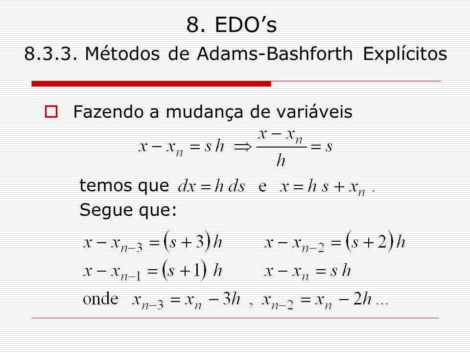 8. EDOs 8.3.3. Métodos de Adams-Bashforth Explícitos Fazendo a mudança de variáveis temos que Segue que: