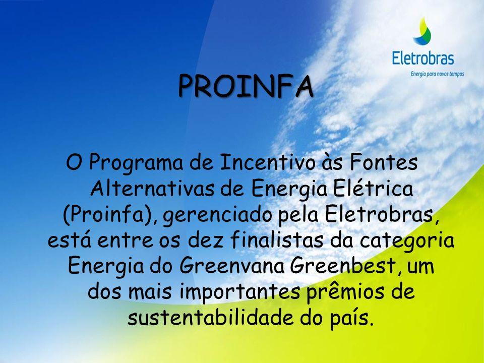 PROINFA O Programa de Incentivo às Fontes Alternativas de Energia Elétrica (Proinfa), gerenciado pela Eletrobras, está entre os dez finalistas da cate