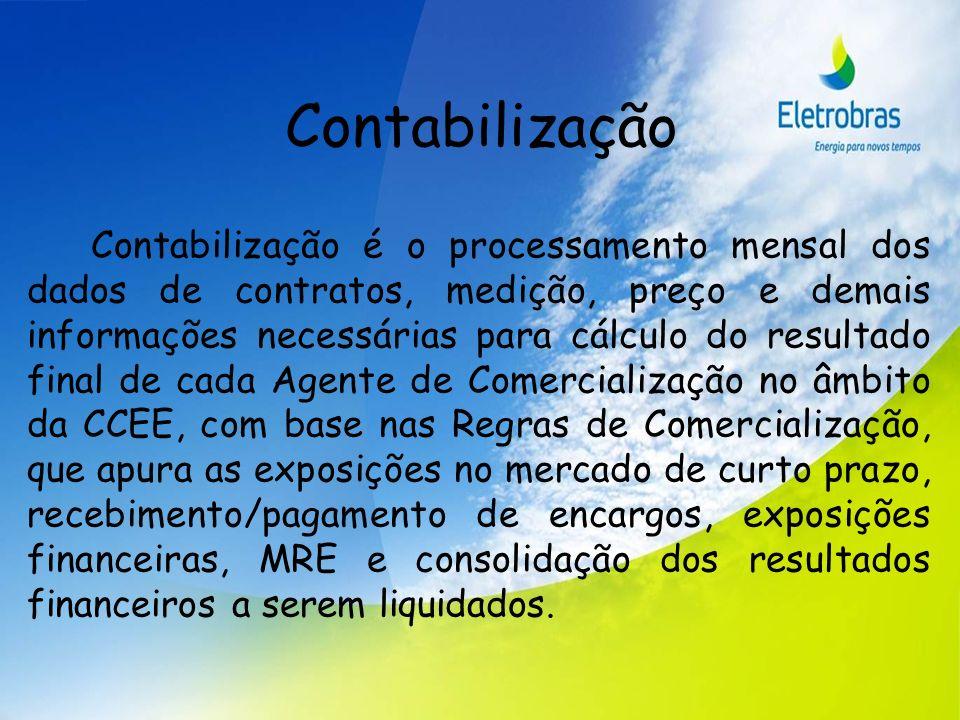 Contabilização Contabilização é o processamento mensal dos dados de contratos, medição, preço e demais informações necessárias para cálculo do resulta
