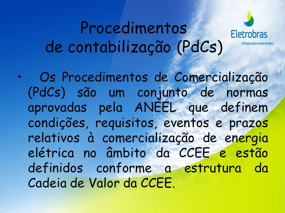 Procedimentos de contabilização (PdCs) Os Procedimentos de Comercialização (PdCs) são um conjunto de normas aprovadas pela ANEEL que definem condições