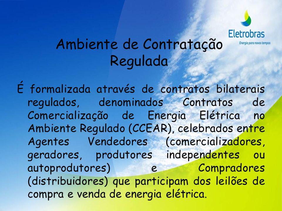 Ambiente de Contratação Regulada É formalizada através de contratos bilaterais regulados, denominados Contratos de Comercialização de Energia Elétrica