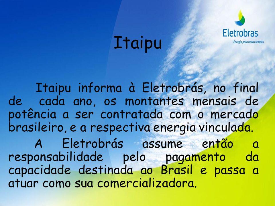 Itaipu Itaipu informa à Eletrobrás, no final de cada ano, os montantes mensais de potência a ser contratada com o mercado brasileiro, e a respectiva e