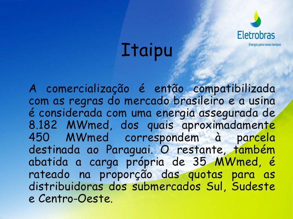 Itaipu A comercialização é então compatibilizada com as regras do mercado brasileiro e a usina é considerada com uma energia assegurada de 8.182 MWmed