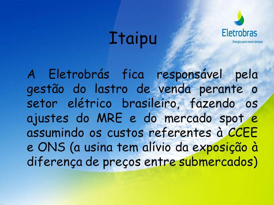 Itaipu A Eletrobrás fica responsável pela gestão do lastro de venda perante o setor elétrico brasileiro, fazendo os ajustes do MRE e do mercado spot e