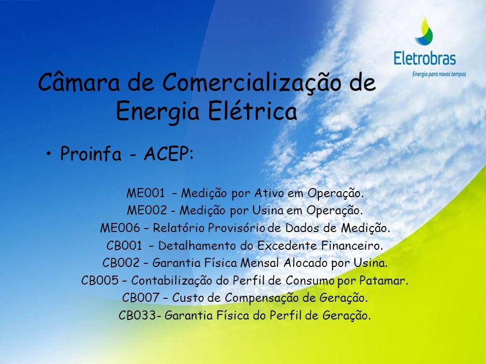 Câmara de Comercialização de Energia Elétrica Proinfa - ACEP: ME001 – Medição por Ativo em Operação. ME002 - Medição por Usina em Operação. ME006 – Re