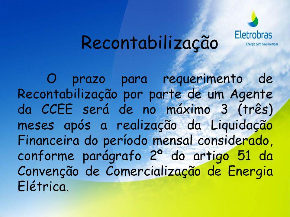 Recontabilização O prazo para requerimento de Recontabilização por parte de um Agente da CCEE será de no máximo 3 (três) meses após a realização da Li