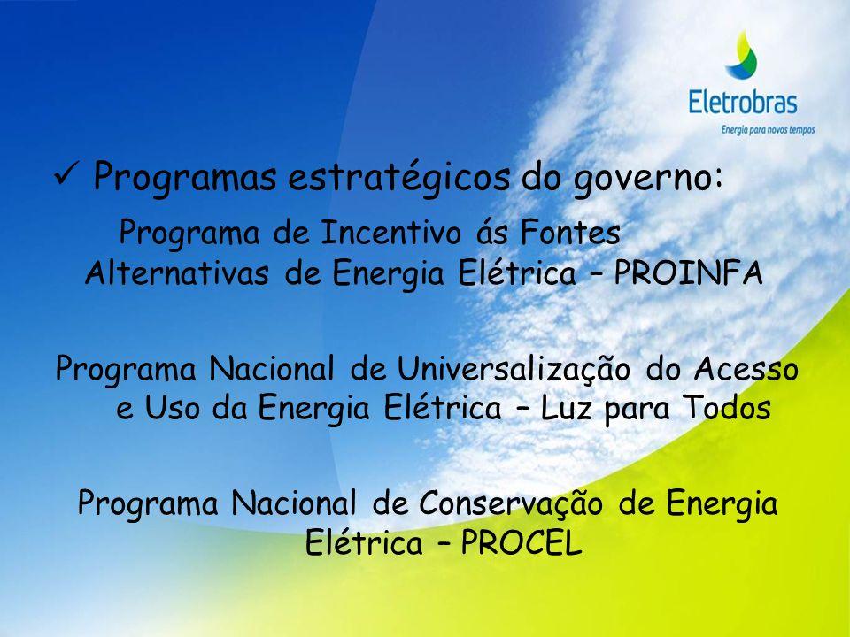Programas estratégicos do governo: Programa de Incentivo ás Fontes Alternativas de Energia Elétrica – PROINFA Programa Nacional de Universalização do