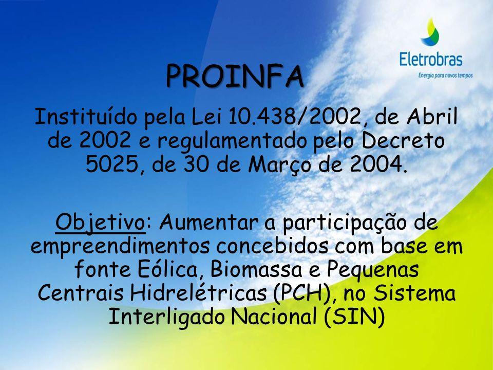 PROINFA Instituído pela Lei 10.438/2002, de Abril de 2002 e regulamentado pelo Decreto 5025, de 30 de Março de 2004. Objetivo: Aumentar a participação