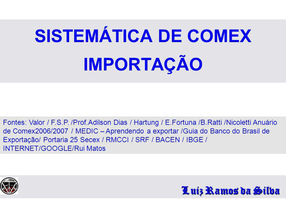 SISTEMÁTICA DE COMEX IMPORTAÇÃO Luiz Ramos da Silva Fontes: Valor / F.S.P. /Prof.Adilson Dias / Hartung / E.Fortuna /B.Ratti /Nicoletti Anuário de Com