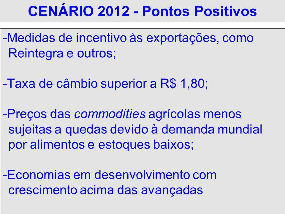 CENÁRIO 2012 - Pontos Positivos -Medidas de incentivo às exportações, como Reintegra e outros; -Taxa de câmbio superior a R$ 1,80; -Preços das commodi