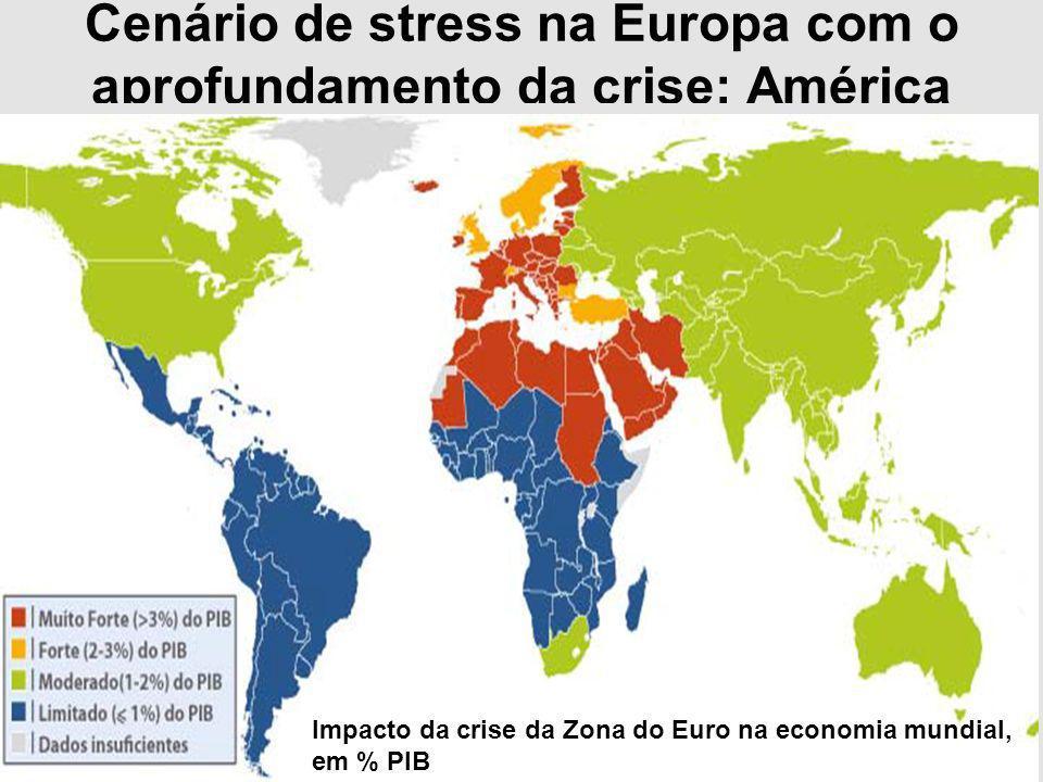 Cenário de stress na Europa com o aprofundamento da crise: América Latina é a região menos afetada Impacto da crise da Zona do Euro na economia mundia