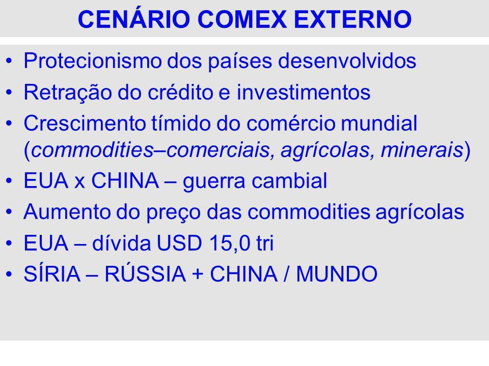 CENÁRIO COMEX EXTERNO Protecionismo dos países desenvolvidos Retração do crédito e investimentos Crescimento tímido do comércio mundial (commodities–c