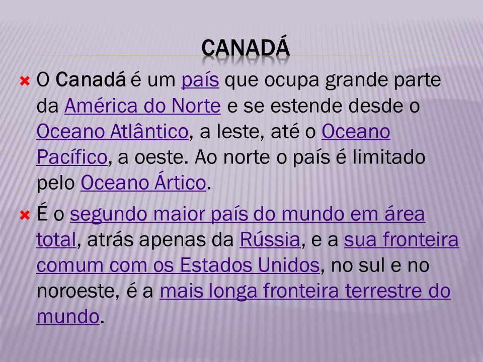 O Canadá é um país que ocupa grande parte da América do Norte e se estende desde o Oceano Atlântico, a leste, até o Oceano Pacífico, a oeste. Ao norte