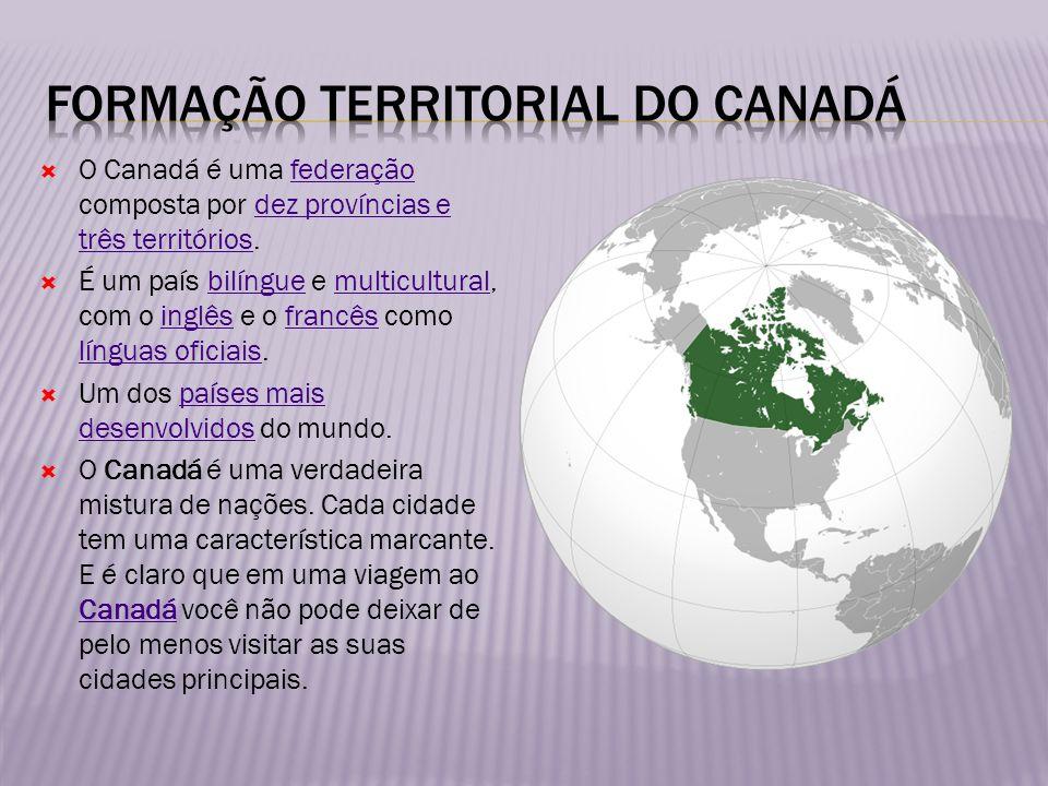 O Canadá é uma federação composta por dez províncias e três territórios.federaçãodez províncias e três territórios É um país bilíngue e multicultural,