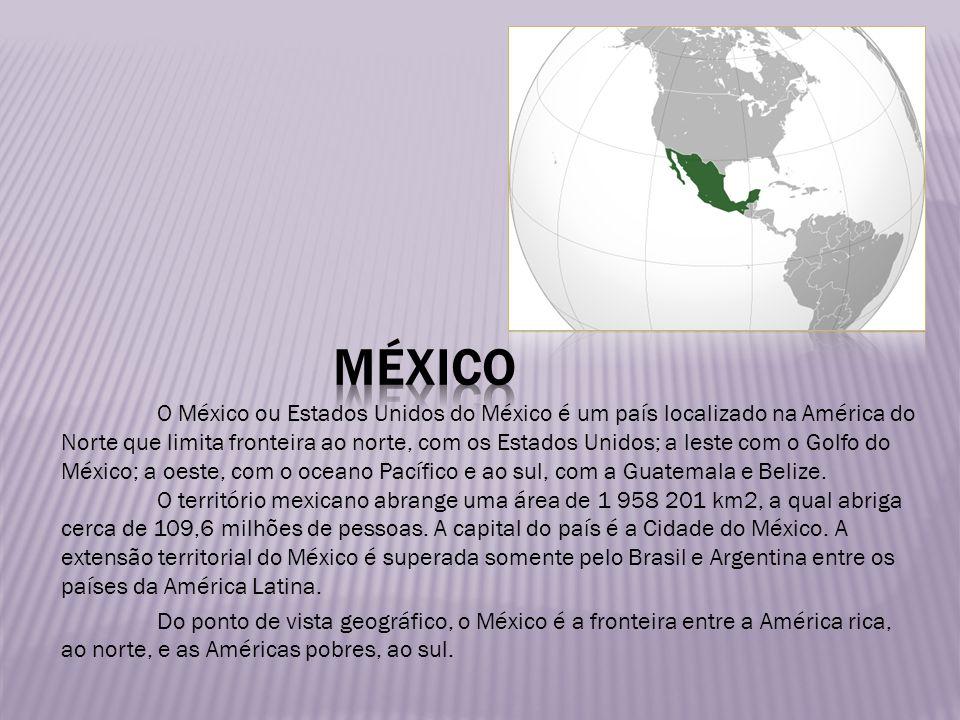 O México ou Estados Unidos do México é um país localizado na América do Norte que limita fronteira ao norte, com os Estados Unidos; a leste com o Golf