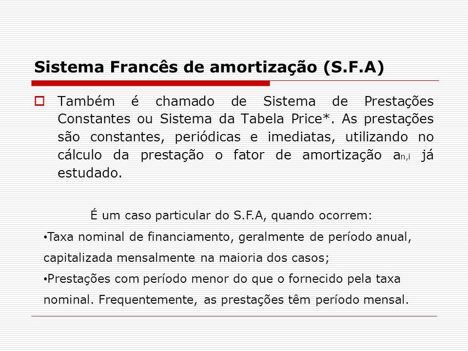 Sistema Francês de amortização (S.F.A) Também é chamado de Sistema de Prestações Constantes ou Sistema da Tabela Price*. As prestações são constantes,